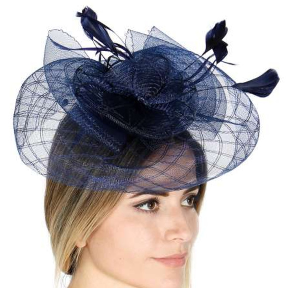 b96aac350a3a8 Flower shape fascinator Hat attached feather navy
